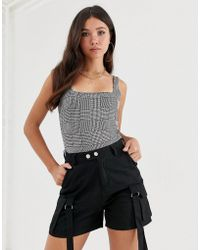 Missguided - Body With Square Neck In Grey Check - Lyst