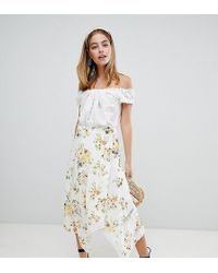 ASOS Asos Design Petite Wrap Midi Skirt In Floral Print With Lace Inserts