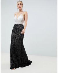 Jovani - Contrast Lace Maxi Dress - Lyst