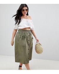 ASOS - Asos Design Curve Cotton Midi Skirt With Button Front - Lyst