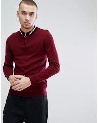 ASOS - Polo in maglia bordeaux con bordi a contrasto e collo con zip - Lyst