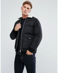 Bellfield - Padded Jacket With Borg Collar - Lyst