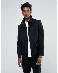 Bellfield - Black Wool Overcoat With Nylon Inlay - Lyst