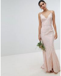 Chi Chi London - Bridal Premium Lace Maxi Dress With Fishtail In Nude - Lyst