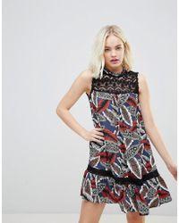 Hazel | Leaf Printed High Neck Dropped Hem Dress With Lace Yolk | Lyst