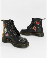 Dr. Martens - 1460 Black Leather Rockabilly Flat Ankle Boots - Lyst