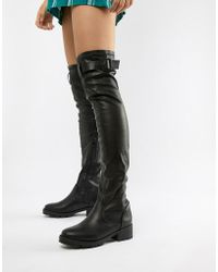 5917157afe5 Truffle Collection Over The Knee Boots With Chunky Heel in Black - Lyst