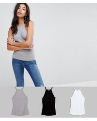 ASOS DESIGN - Cami With Square Neck In Fitted Rib 3 Pack Save 15% - Lyst