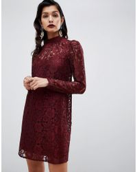 d1131abce3 Lyst - ASOS Lace Skater Dress with Short Sleeves and Belt in Black