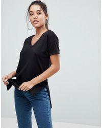 ASOS - Design Oversized Longline T-shirt With V-neck In Lightweight Rib - Lyst