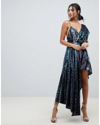 475b1505787 ASOS - Midaxi Dress With Drape Shoulder In All Over Sequin - Lyst