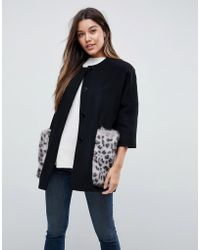 Helene Berman - Leopard Kimono Coat With Faux Fur Pockets - Lyst