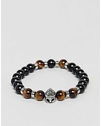 Seven London - Beaded Bracelet In Black & Brown - Lyst