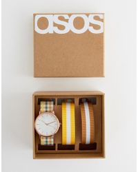 ASOS - Watch With 3 Interchangeable Check And Stripe Straps - Lyst