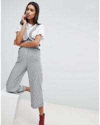 Lost Ink - Suspender Pant With Frill Waist In Fine Stripe - Lyst