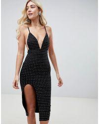 Club L - Deep V Midi Dress With Side Split & All Over Diamante Embellishment - Lyst
