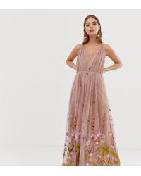 c7c2012f62648 ASOS - Asos Design Petite Tulle Maxi Dress With Delicate Floral Embroidery  And Twist Straps -