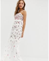 Needle & Thread Allover Multi Embroidered Cami Strap Maxi Dress In Ivory