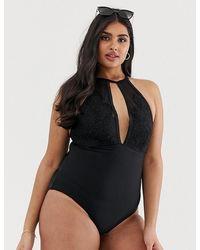 6170c5102b Playful Promises - X Hunter Mcgrady Black High Neck Lace Panel Swimsuit -  Lyst