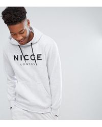 Nicce London - Tall Hoodie In Grey With Large Logo - Lyst
