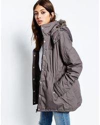 Ichi | Parka With Faux Fur Hood | Lyst