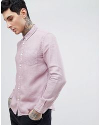 Pretty Green - Slim Fit Collingwood Button Down Shirt In Pink - Lyst