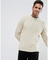 ASOS - Cable Knit Jumper In Beige - Lyst