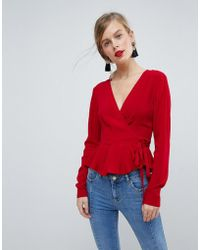 ASOS - Wrap Top With Pephem - Lyst