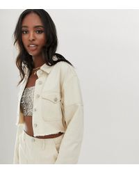 Missguided Co-ord Denim Cropped Jacket In Ecru