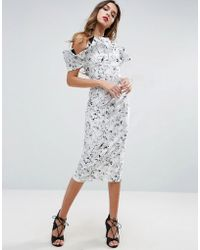 ASOS - Mono Ruffle Longer Length Midi Dress - Lyst
