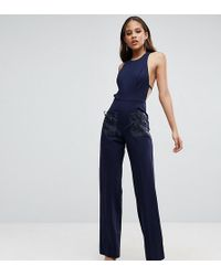 Taller Than Your Average - Ttya Black Wide Leg Jumpsuit With Organza Bow Detail - Lyst