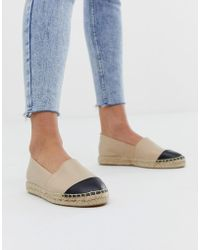 Office - Lucky Beige Leather Flat Espadrilles With Black Toe Posts - Lyst