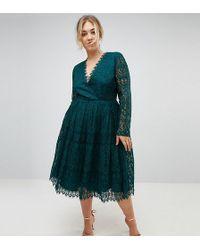 ASOS | Long Sleeve Lace Midi Prom Dress | Lyst