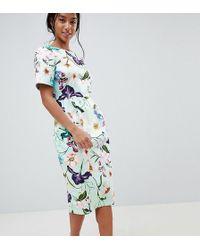 ASOS - Asos Design Petite Wiggle Midi Dress In Floral Print - Lyst