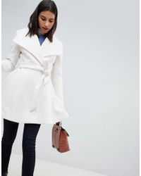 ASOS - Waterfall Collar Coat With Tie Belt - Lyst