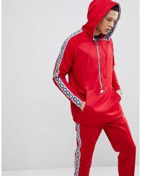 Nike - Half Zip Hoodie With Taped Side Stripe In Red Aj2296-687 - Lyst