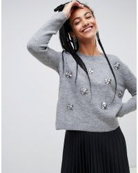 Mango - Embellished Wool Blend Jumper In Grey - Lyst