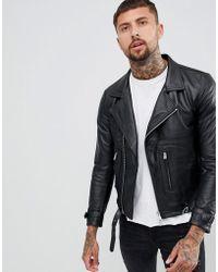 Replay - Leather Biker Jacket Zip Detail In Black - Lyst