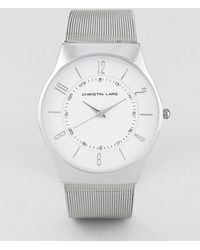 Christin Lars - Mesh Strap Watch In Silver With White Dial - Lyst