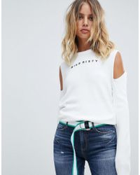 Miss Sixty - Exposed Shoulder Knit With Logo - Lyst