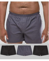ASOS - Plus Woven Boxer In Monochrome 3 Pack - Lyst