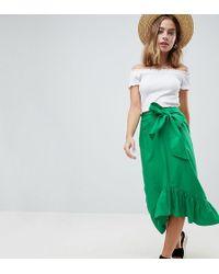 ASOS - Asos Design Petite Cotton Midi Skirt With Tie Belt And Ruffle Hem - Lyst