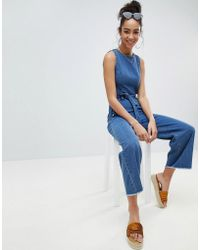 Missguided - Open Back Cropped Denim Jumpsuit - Lyst