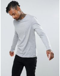 ASOS - Design Long Sleeve T-shirt With Crew Neck In Gray - Lyst