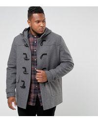 ASOS - Plus Wool Mix Duffle Coat In Light Gray - Lyst
