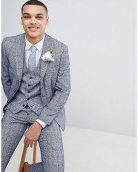 Moss Bros - Moss London Wedding Skinny Suit Jacket In Blue Fleck Check - Lyst