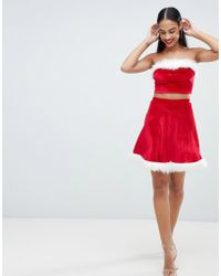 Club L - Christmas Velvet Mini Skirt With Faux Fur Trim - Lyst