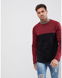 ASOS - Longline Long Sleeve T-shirt With Colour Block In Interest Fabric - Lyst