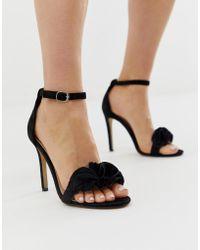 9c5c4f4278c Glamorous Block Heel Metal Trim Sandals in Black - Lyst