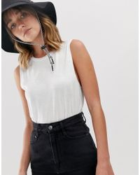 Weekday - Relaxed High Neck Singlet With Drop Arm In White - Lyst